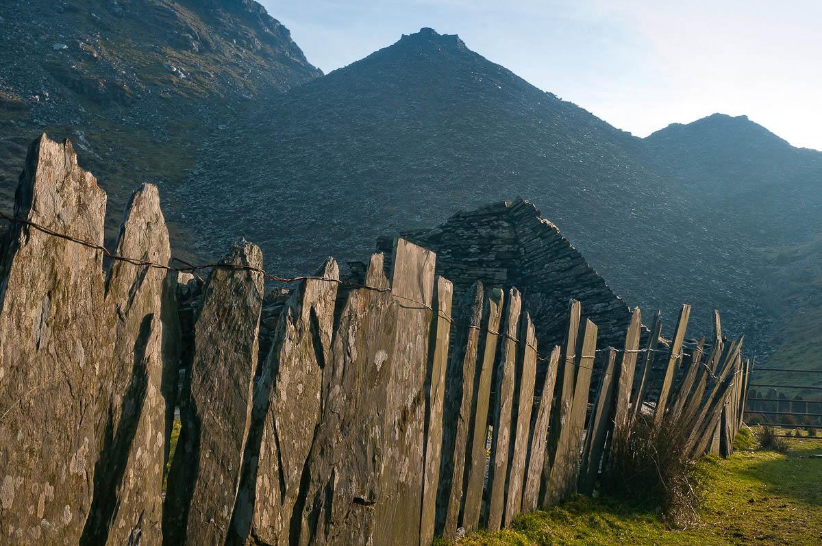 Slate fence in CwmorthinNear Blaenau Ffestiniog